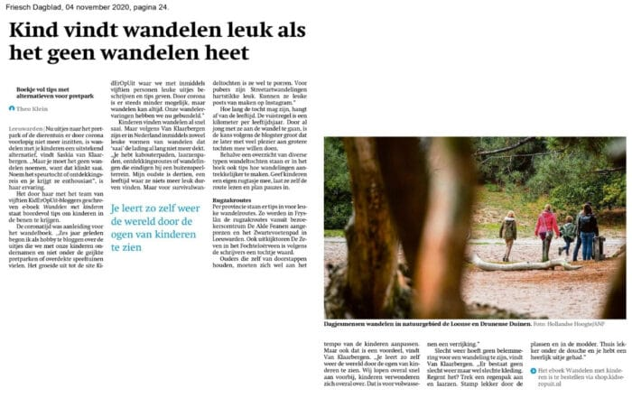 Artikel over het e-book 'Wandelen met kinderen' in het Friesch Dagblad.