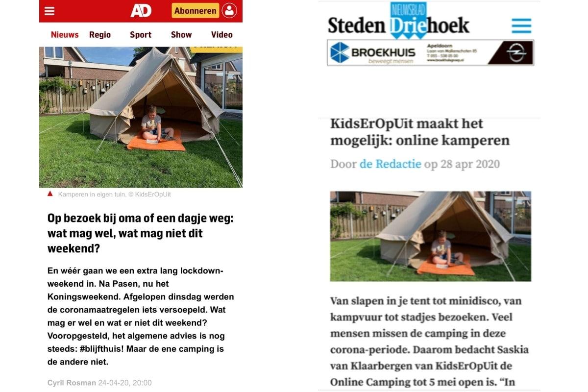 Online aandacht voor de KidsErOpUit Camping.