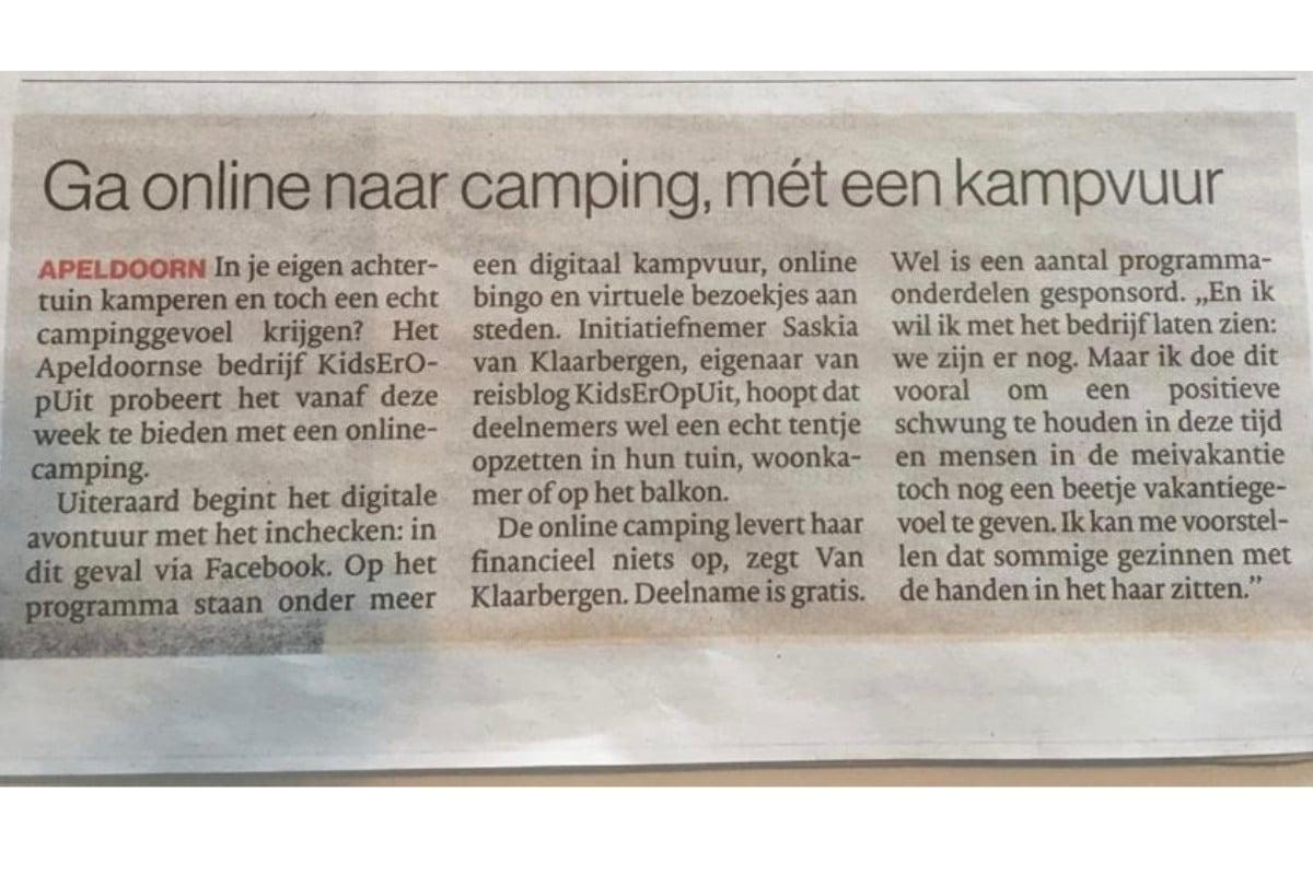 In de krant aandacht voor de KidsErOpUit Camping.